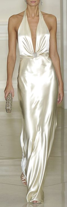 Ralph Lauren ~ Plunging Neckline White Satin Maxi Dress