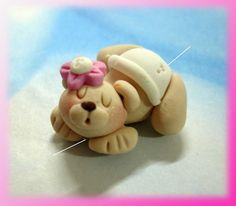 *POLYMER CLAY ~ Bear in Diaper Polymer Clay Charm Bead, Scrapbooking, Bow Center, Pendant, Cupcake topper, Magnet, Ring