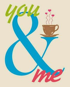 You and Me Print Ampersand Sign Love Tea Coffee Ampersand Decor Drinking…