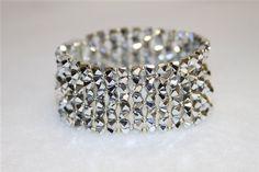 Silver Swarovski Crystal Cuff by BernsAndOdy on Etsy, $120.00