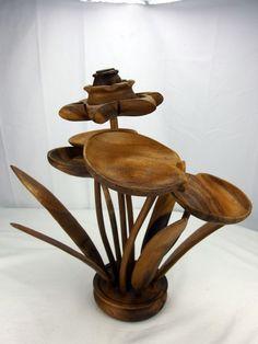"Handmade Monkey Pod Koa Wood  Flower Sculpture Centerpiece Decor Mid-Century 16"" http://stores.ebay.com/mariasantiqueandvintage?_trksid=p2323012.m4035.l7167"