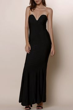 Elegant Solid Color Strapless Bodycon Maxi Fishtail Dress For Women