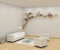 Over the bed?                                                     @http://www.toxel.com/inspiration/2011/02/06/tree-branch-bookshelf/