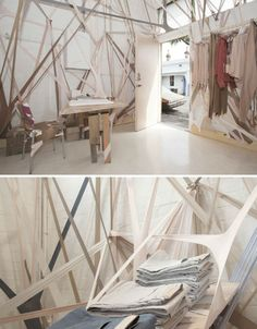 Do you recognize the items that are stretched like rubber bands all around the inside of this temporary Arnsdorf concept store? Design firm Edwards Moore took inspiration from crystalline forms and rocky landscapes to create these slightly surreal space, which is filled with dozens of pairs of pantyhose in muted neutral colors that matched the shop's offerings.
