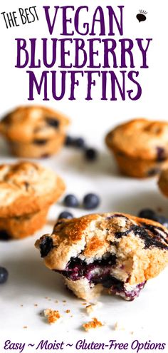 These vegan blueberry muffins are a tried and true recipe that bakes up perfectly for me every time. Light and fluffy, moist, and packed with blueberries and topped with a crunchy cinnamon and sugar topping, this recipe is a winner every time! Vegan Baking Recipes, Vegan Dessert Recipes, Vegan Breakfast Recipes, Vegan Sweets, Vegan Snacks, Vegan Breakfast Muffins, Muffin Recipes, Protein Muffins, Zucchini Muffins