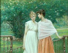A Secret, by William John Hennessy (July 11, 1839 – December 27, 1917). Hennessy was an Irish artist who was born in Thomastown, County Kilkenny in 1839. His father was forced to leave Ireland in 1848 as a result of his involvement in the Young Ireland movement. He landed in Canada and settled in New York. William, his mother Catherine, and brother joined their father there in 1849. He gained admittance to the National Academy of Design in 1854 and exhibitioned his first works there.