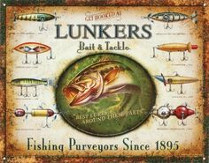 Lunker's Lures Bait and Deal with Distressed Retro Classic Tin Signal Product Options skilled high quality metallic / tin signal tin indicators are new and will have a classic or distressed look enameled paint is engaging and really sturdy measures 12.50 by 16.00 inches ships shortly and...