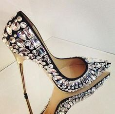 Trendy High Heels For Ladies : Jimmy Choo Rich Crystal Embellished Stiletto Pumps Hot Shoes, Crazy Shoes, Me Too Shoes, Women's Shoes, Shoe Boots, Bling Shoes, Wide Shoes, Louboutin Shoes, Dress Shoes