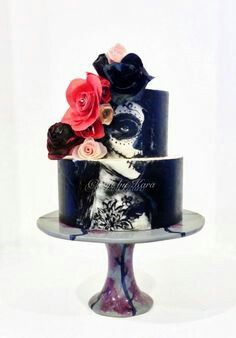 Day of the dead girls decorated face on cake just amazing!!
