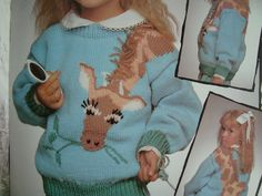 Animal Sweater Knitting Patterns/ Patons 520 On Safari/ Childs Size 2-4-6-8/drop shoulder pullover zebra hippo giraffe lion monkey elephant by RedWickerBasket on Etsy