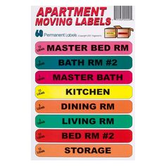 Apartment Labels For Moving Boxes when moving an apartment or small house use these labels for moving boxes to label the boxes based on the room they are going to. Organizing made simple by moving labels. Moving Supplies, Packing Supplies, Moving Labels, Moving Checklist, Remove Labels, Moving Boxes, Moving Day, Quotes About Moving On, Make It Simple