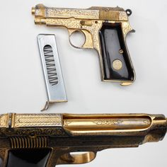 Chuck Yeager's Beretta – Sometimes, our GOTD just has all the right stuff.  As the first human to break the sound barrier in his experimental Bell X-1 craft in 1947, General Yeager's 60-year flying career spanned from prop airplanes to jets. This engraved and gold-washed Beretta M1935 pistol was reportedly given to Yeager by a Cuban minister of defense after a flight demonstration.  Over a half million of these .32 caliber handguns were made from 1935 to 1967.
