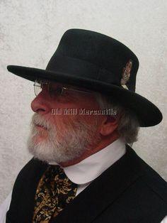 55df67c1b0df0 Old West Gambler style mens black wool felt hat by Stacy Adams SA570 M-XXL