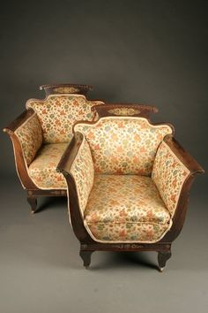 Pair Napoleon III period French second Empire arm chairs with bronze ormulu details, circa 1880. #antique #chairs