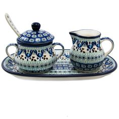 Polish Pottery Handmade 5 Piece Sugar and Creamer Set With Serving Tray Traditional Pattern 2187X