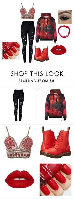 """red tomboy"" by sjbush-penguin on Polyvore featuring Glamorous, Dr. Martens, Lime Crime, women's clothing, women, female, woman, misses and juniors"