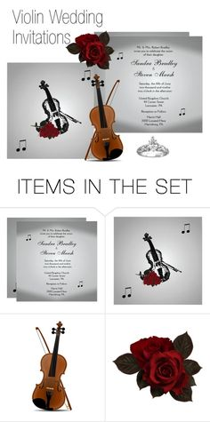 """Violin Wedding Invitation"" by kashmier ❤ liked on Polyvore featuring art"