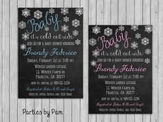 Baby its Cold Outside Baby Shower Digital Invite Snowflakes Chalkboard Girl or Boy Winter Theme Baby Shower