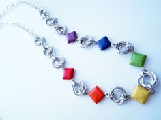 Handmade ~ Rainbow Chainmaille Necklace