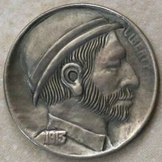 JON DAKE - MAN IN DERBY* - 1913 BUFFALO PROFILE Hobo Nickel, Derby, Buffalo, Coins, Carving, Profile, User Profile, Rooms, Wood Carvings