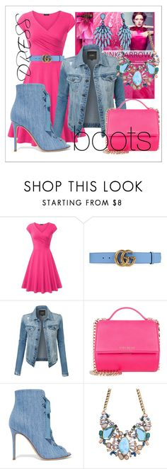 """""""Pink your Denim 💓💟💙💟💓"""" by lullulu ❤ liked on Polyvore featuring Gucci, LE3NO, Givenchy and Gianvito Rossi"""
