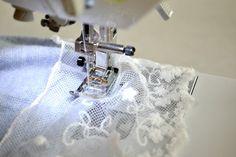Adding lace to a hem sewing