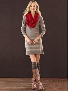 Banana Republic    Lurex stripe sweater dress  Cozy ruffle scarf  Pavé link bracelet  Long lurex-cuff sock