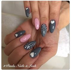 Cute hearts in grey and pink