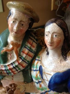 Staffordshire Pottery Figure Lovers 1800s Antique Highland Mary