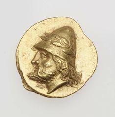 Statere - oro - Lampsakos, Mesia (387-330 a.C.) Kabeiros barbato con lunghi capelli e alto copricapo laureato (pilos) - Museum of Fine Arts, Boston