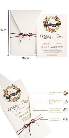 Convites de Casamento Presence Aquarela - convite com impressão floral 4 cores, envelope sem impressão e decoração em cordão encerado