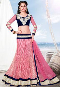 Pink Net Lehenga Choli with Dupatta: LTL39