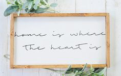 Home Is Where The Heart Is Wood Sign Home Decor Wall Art