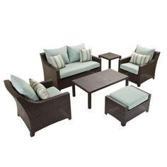 RST Brands Deco 6-Piece Patio Seating Set with Bliss Blue Cushions-OP-PEOSS6-BLS-K - The Home Depot