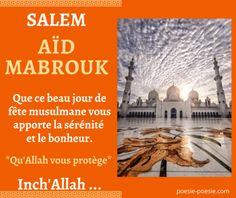 Jolie carte pour souhaiter une bonne fête de l'Aid avec une belle image Aid Moubarak Message Aid, Beau Message, Eid Adha Mubarak, Eid Al Fitr, Bon Ramadan, Taj Mahal, Messages, Bled, Dna