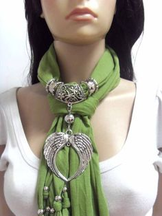 Fashion jewelry scarf metal angle heart pendant charms scarves winter scarf