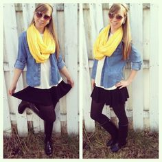 Rainy day outfit. Chambray, rain boots and yellow infinity scarf.