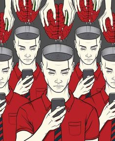Illustrations That Take a Tongue-in-cheek Look at Technology Addiction in Today's Society pics) Banksy, Technology Addiction, Illustrator, Satirical Illustrations, Satirical Cartoons, Psychedelic Art, Grafik Design, Image Shows, Les Oeuvres