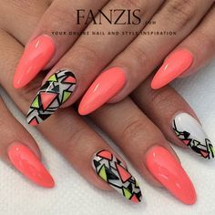 Coral long nails @fanzis_com | Websta