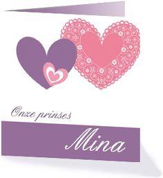 Een klassiek geboortekaartje voor onze prinses Mina. Eenvoudig maar erg leuk. Bekijk alle klassieke geboortekaartjes op Kaartopmaat.nl