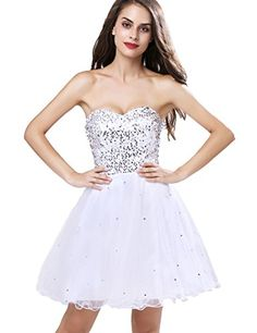 Clearbridal Short Prom Dress for Juniors Homecoming Graduation Party Dresses Junior Prom Dresses, Prom Dresses 2018, Strapless Dress Formal, Evening Dresses, Dress Prom, Formal Gowns, White Cocktail Dress, Short Prom, Party Gowns