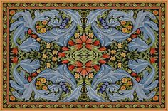 Adaptation of William Morris fabric into needlepoint rug by Beth Russell. Absolutely gorgeous. Some day, when I have more money and skill, I will do one of these.