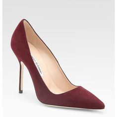 Manolo Blahnik Bb Suede Point-Toe Pumps ($595) ❤ liked on Polyvore