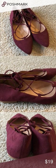 LOFT Burgundy Suede Lace Up Flats Sz 9 Gently used condition LOFT lace up flats. Size 9. Worn only a few times. LOFT Shoes Flats & Loafers