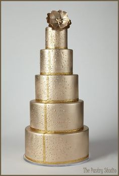 Stunning Wedding Cakes for Winter Weddings. A Five-Tier Bronze and Gold Wedding Cake by The Pastry Studio: Daytona Beach, Fl Textured Wedding Cakes, Pretty Wedding Cakes, Wedding Cake Photos, Floral Wedding Cakes, Pretty Cakes, Cake Wedding, Floral Cake, Metallic Cake, Gold Cake