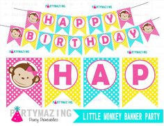 New from Partymazing on Etsy: Little Monkey Banner Monkey Girl Printable Banner Girl Happy Birthday Printable Banner Girl Monkey Collection D376 (5.00 USD) For more @partymazing