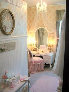 Love how soft this looks for a little girls room....recover chair....possibly have fabric flowing over vanity?