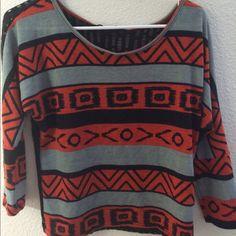 Aztec printed blouse Cute orange grey and black Aztec printed blouse with black lace like back side. Tops Blouses