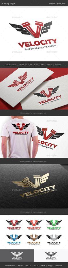 V Wing Logo by WheelieMonkey Files format : EPS 10, EPS CS, EPS CS4, EPS CS6, AI CS4 Color mode : CMYK Resolution : 300PPI Resizable Free used font links