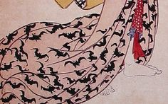 Detail from a print by Hiroshige, c.1830, showing the bottom of a robe of a bijin decorated with bats; the bat symbolises happiness in Japan. (printsofjapan.com)